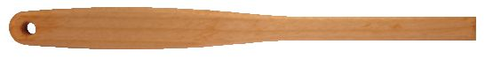 Custom_Ergonomic_Wood_Handle.jpg,wooden spatula style handle, wood handle with cross bored hole at end, natural finish