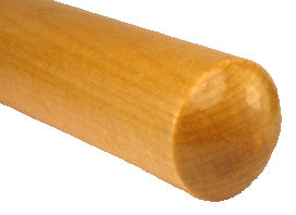 Custom_Wood_Stool_Leg_USA___rounded_end.jpg, rounded end wood stool leg, custom turned wood leg, clear varnish wood leg usa